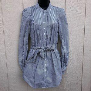 Bebe b&w striped button tunic size small